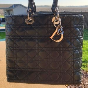 Authentic Lady Dior cannage bag with dust cover